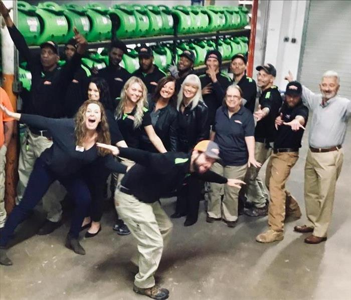 SERVPRO team picture in the ware house.