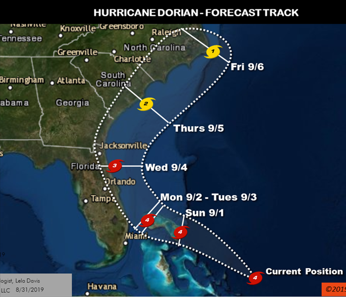 Map showing the forecasted path of Hurricane Dorian along the Florida Coast as of Saturday morning Aug 31